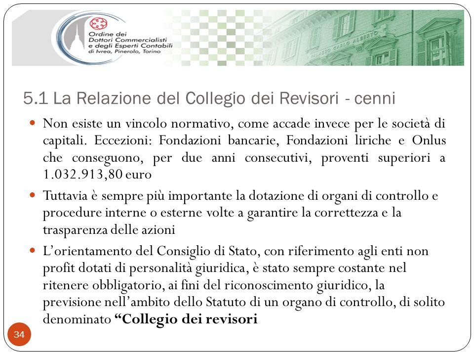 5.1 La Relazione del Collegio dei Revisori - cenni