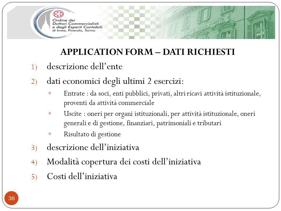 APPLICATION FORM – DATI RICHIESTI