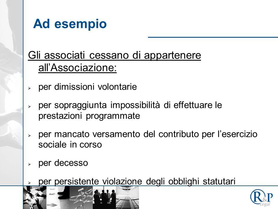 Ad esempio Gli associati cessano di appartenere all'Associazione: