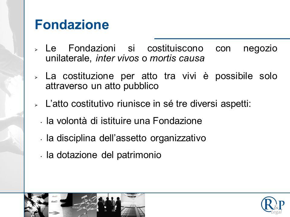 Fondazione Le Fondazioni si costituiscono con negozio unilaterale, inter vivos o mortis causa.