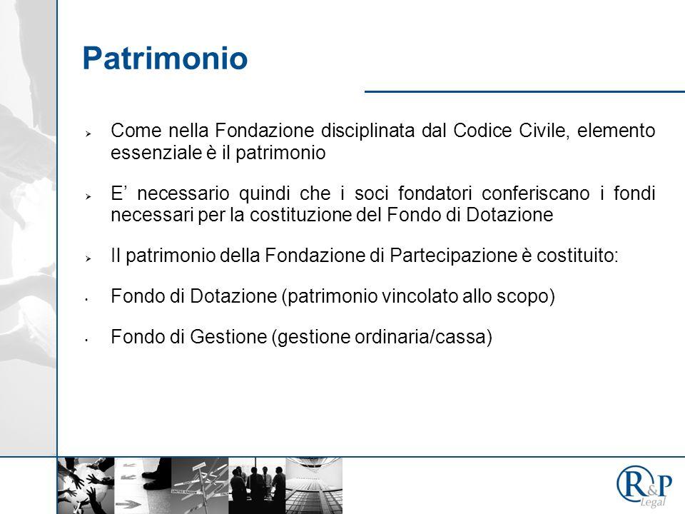 Patrimonio Come nella Fondazione disciplinata dal Codice Civile, elemento essenziale è il patrimonio.