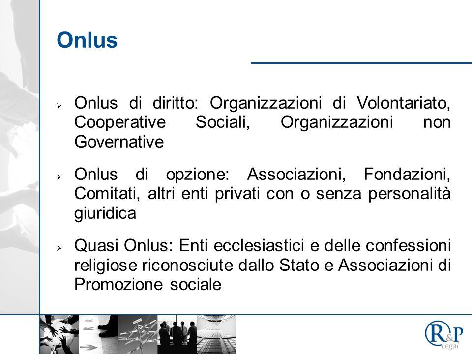 Onlus Onlus di diritto: Organizzazioni di Volontariato, Cooperative Sociali, Organizzazioni non Governative.