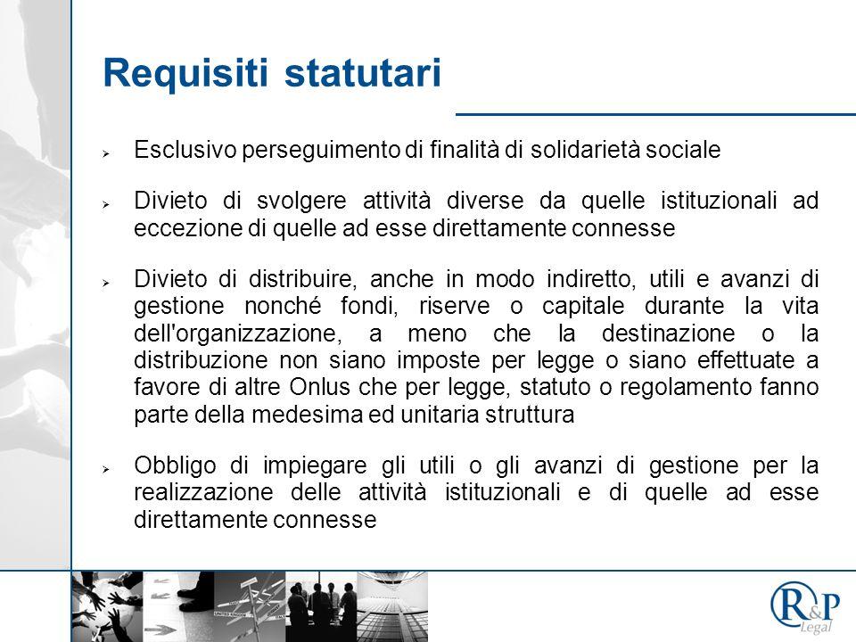 Requisiti statutari Esclusivo perseguimento di finalità di solidarietà sociale.