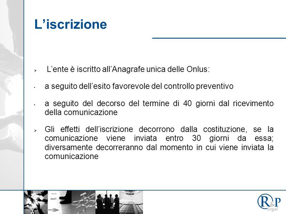 L'iscrizione L'ente è iscritto all'Anagrafe unica delle Onlus:
