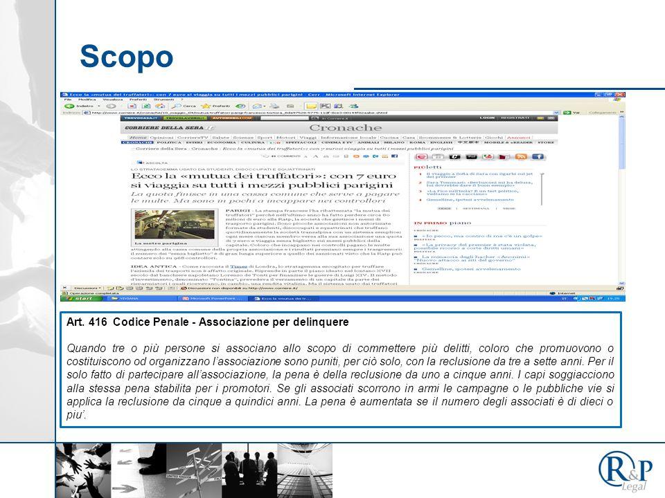 Scopo Art. 416 Codice Penale - Associazione per delinquere