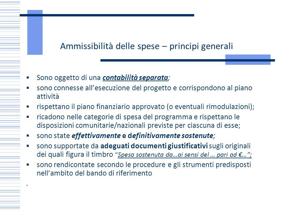 Ammissibilità delle spese – principi generali