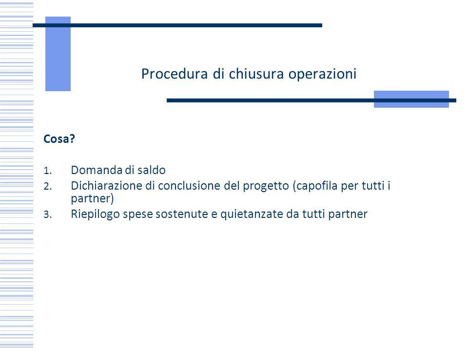 Procedura di chiusura operazioni