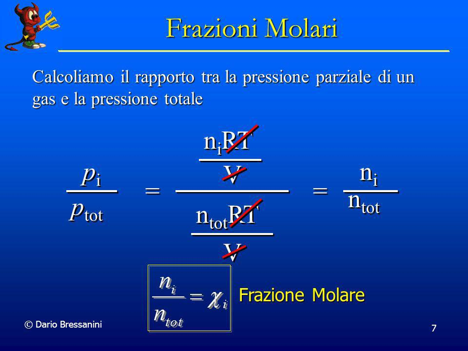 Frazioni Molari pi ptot = niRT V ntotRT = ni ntot