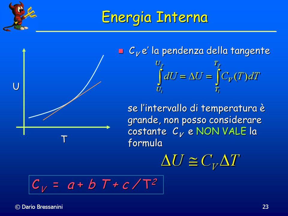 Energia Interna CV = a + b T + c / T2 CV e' la pendenza della tangente