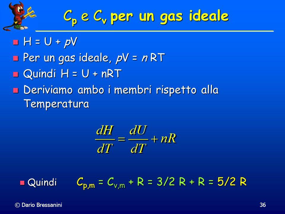 Cp e Cv per un gas ideale H = U + pV Per un gas ideale, pV = n RT