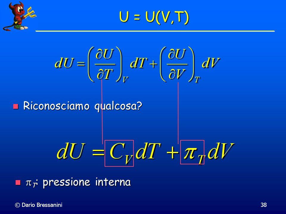 U = U(V,T) Riconosciamo qualcosa pT: pressione interna