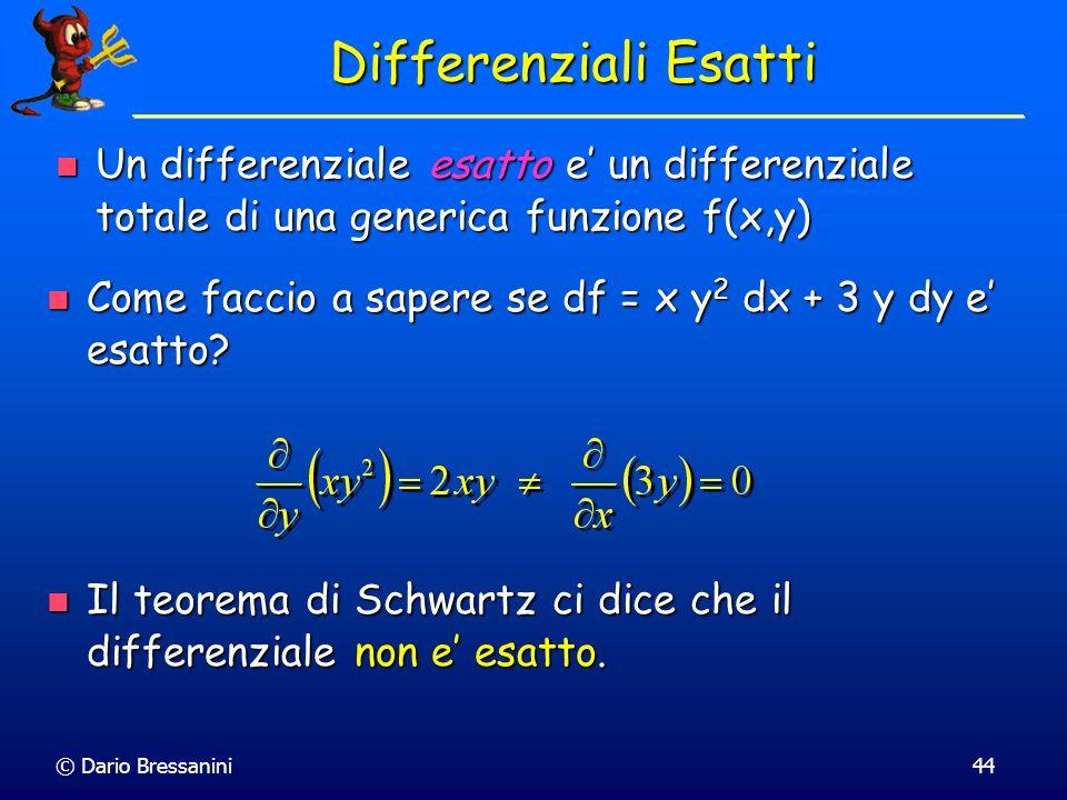 Differenziali Esatti Un differenziale esatto e' un differenziale totale di una generica funzione f(x,y)