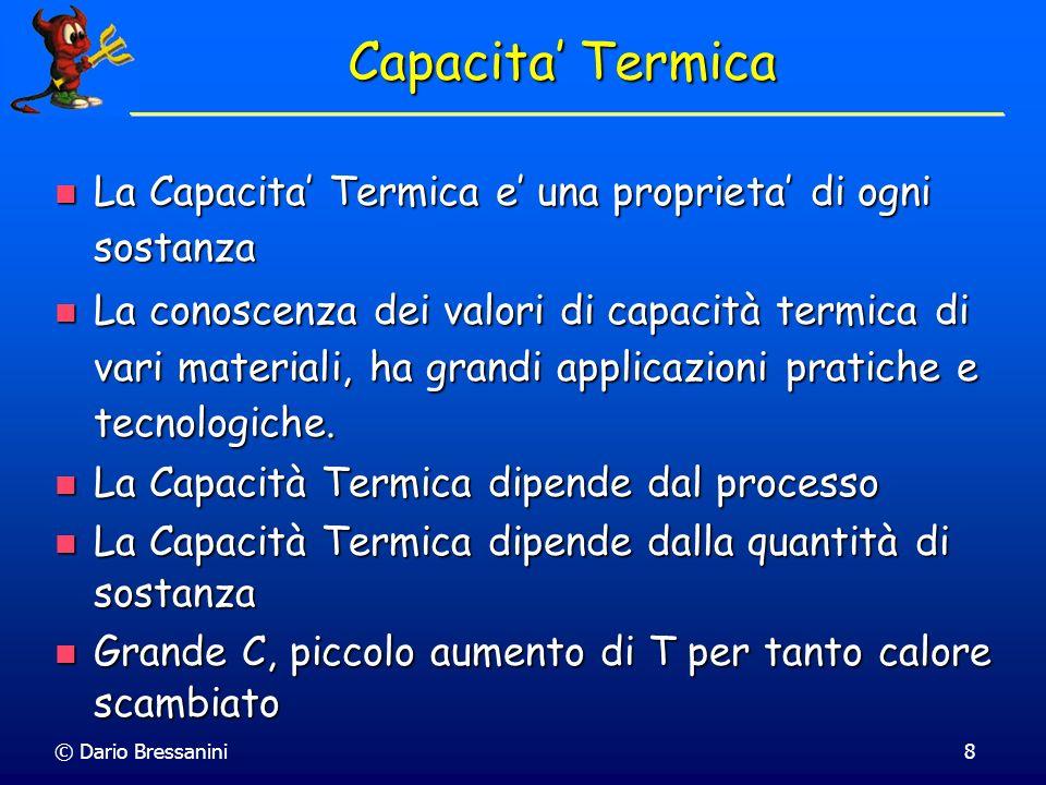 Capacita' TermicaLa Capacita' Termica e' una proprieta' di ogni sostanza.
