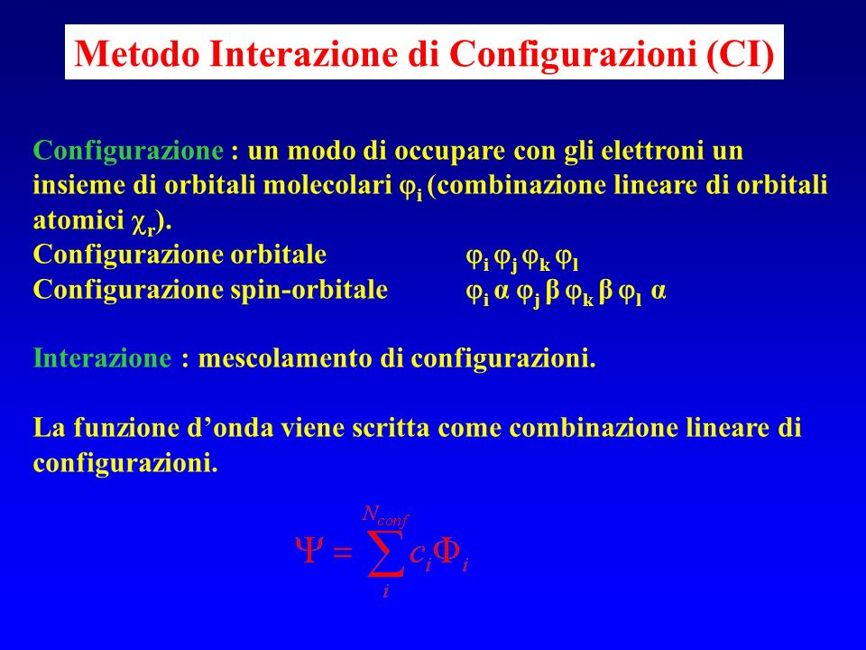 Metodo Interazione di Configurazioni (CI)