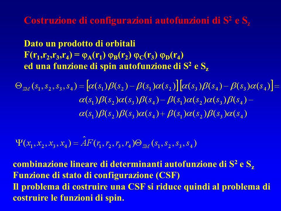 Costruzione di configurazioni autofunzioni di S2 e Sz
