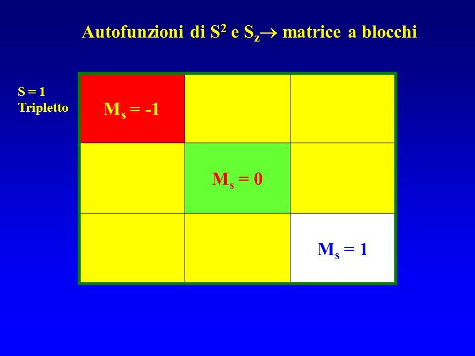 Autofunzioni di S2 e Sz matrice a blocchi Ms = -1