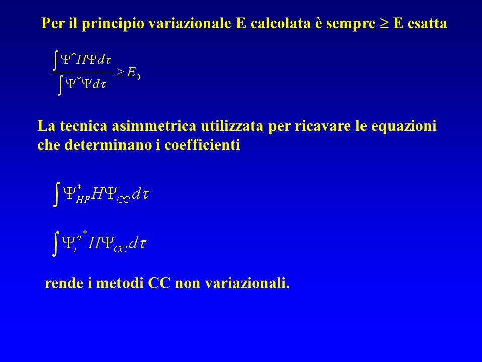 Per il principio variazionale E calcolata è sempre  E esatta