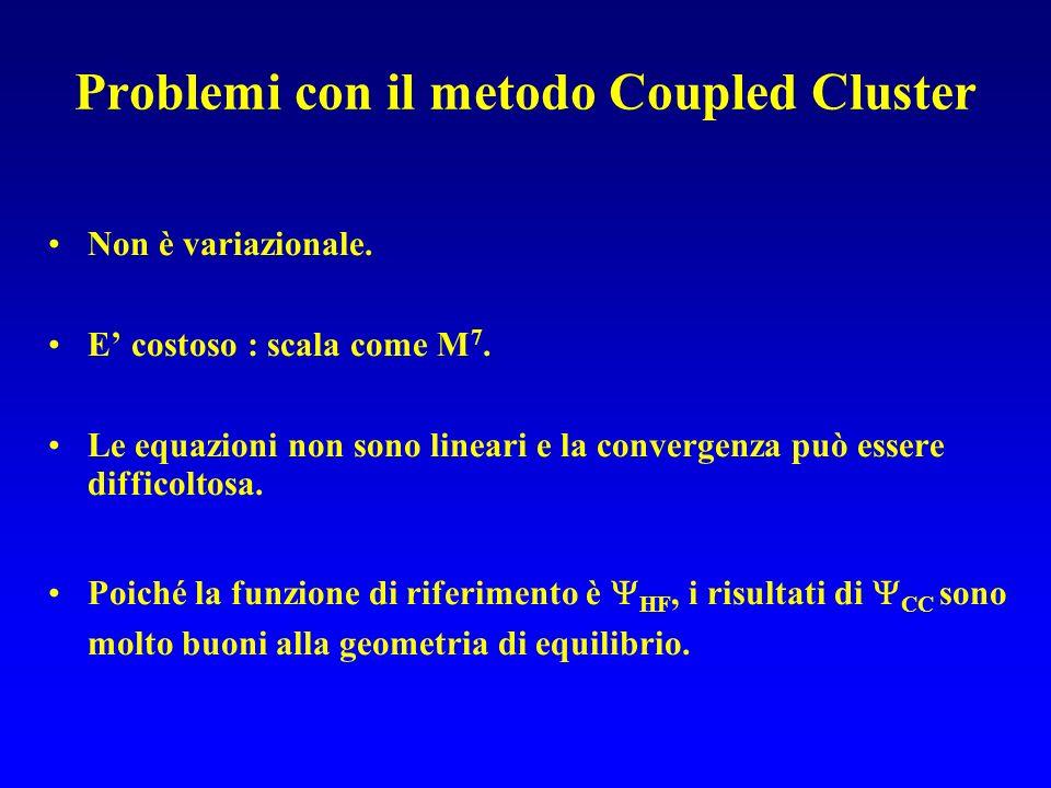 Problemi con il metodo Coupled Cluster