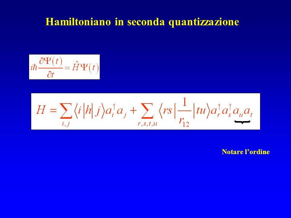 Hamiltoniano in seconda quantizzazione