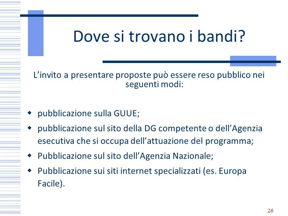Dove si trovano i bandi L'invito a presentare proposte può essere reso pubblico nei seguenti modi: