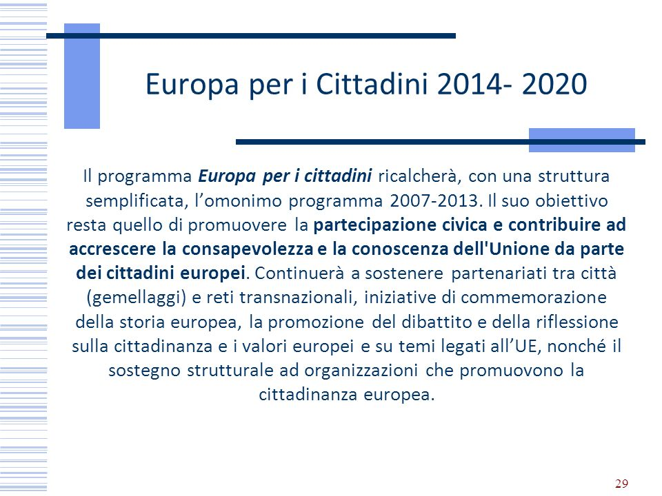 Europa per i Cittadini 2014- 2020