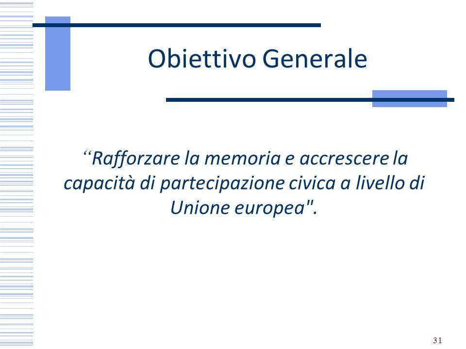 Obiettivo Generale Rafforzare la memoria e accrescere la capacità di partecipazione civica a livello di Unione europea .