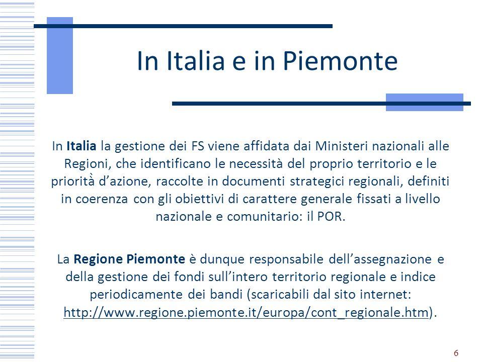 In Italia e in Piemonte