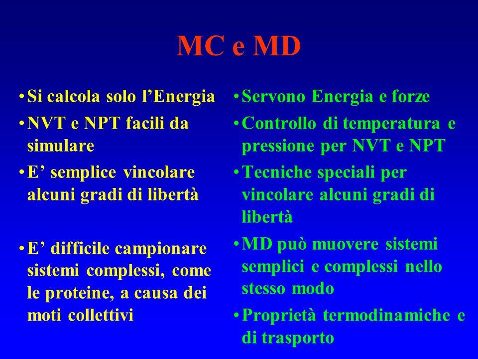 MC e MD Si calcola solo l'Energia NVT e NPT facili da simulare
