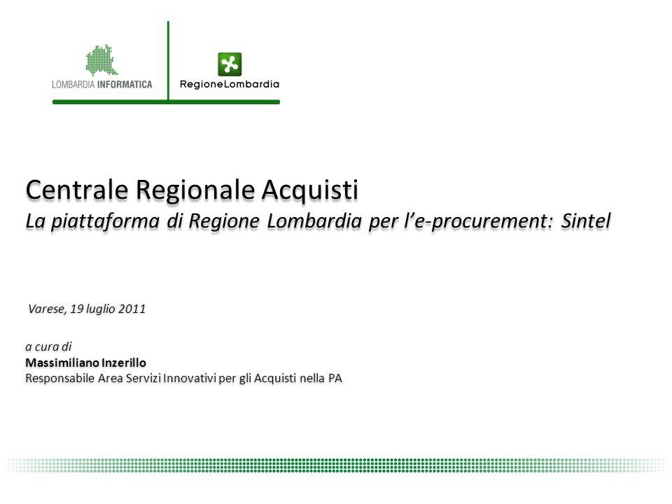 Centrale Regionale Acquisti La piattaforma di Regione Lombardia per l'e-procurement: Sintel
