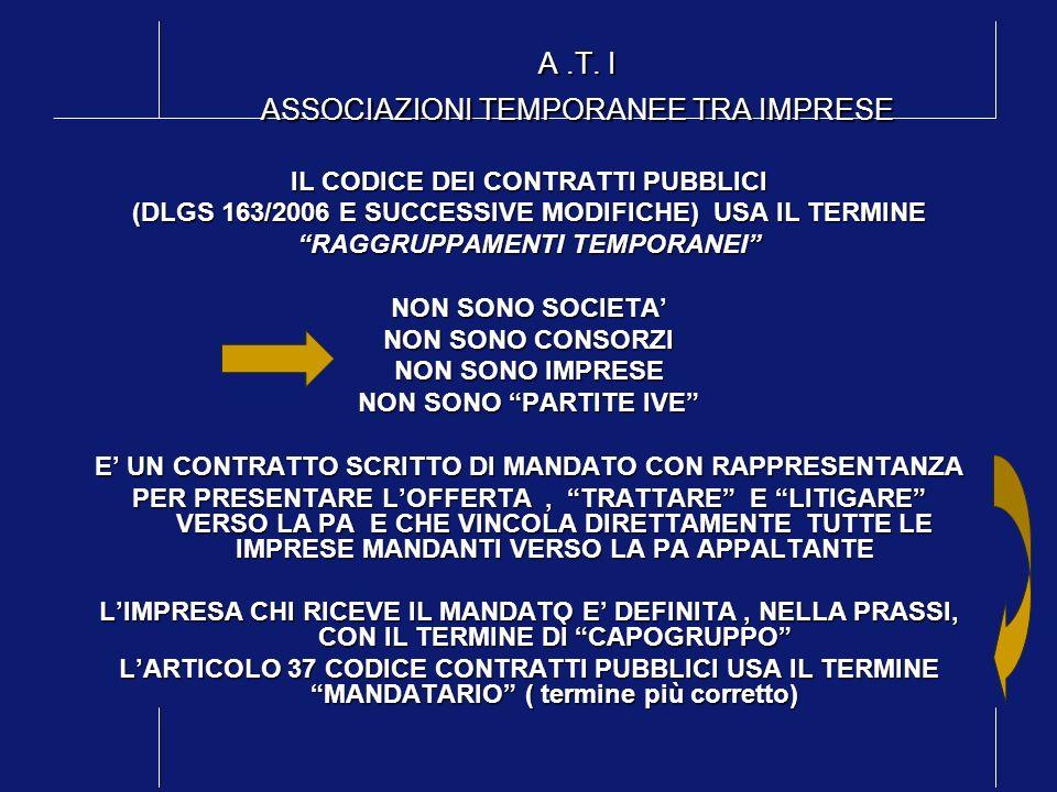 A .T. I ASSOCIAZIONI TEMPORANEE TRA IMPRESE