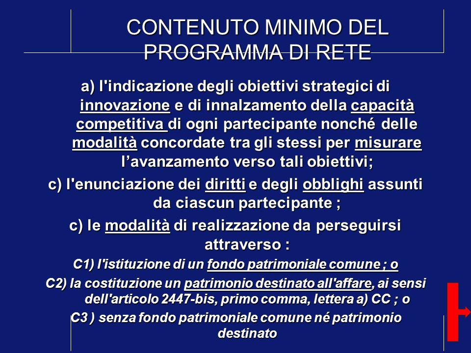 CONTENUTO MINIMO DEL PROGRAMMA DI RETE