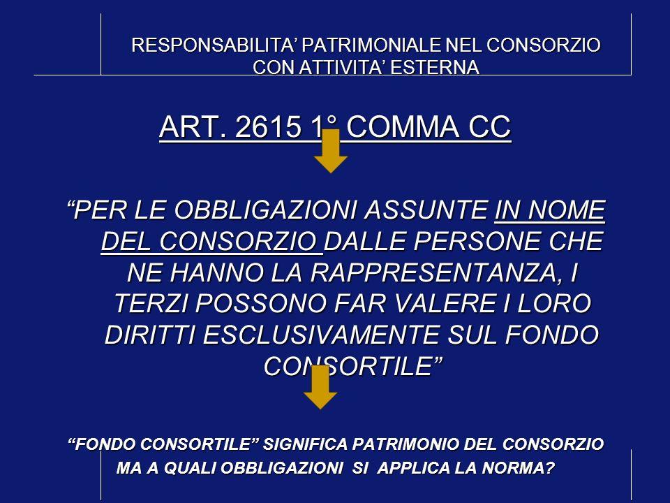 RESPONSABILITA' PATRIMONIALE NEL CONSORZIO CON ATTIVITA' ESTERNA