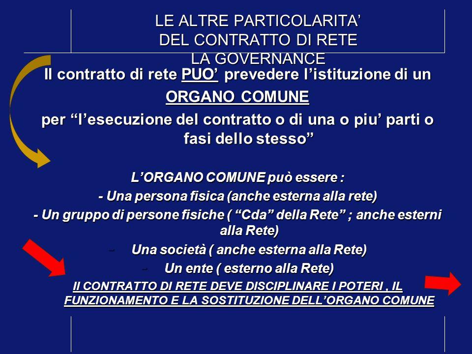 LE ALTRE PARTICOLARITA' DEL CONTRATTO DI RETE LA GOVERNANCE