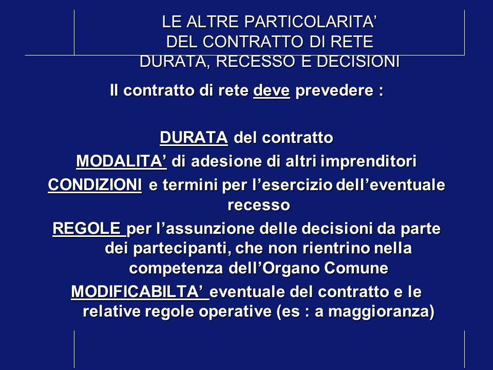 LE ALTRE PARTICOLARITA' DEL CONTRATTO DI RETE DURATA, RECESSO E DECISIONI
