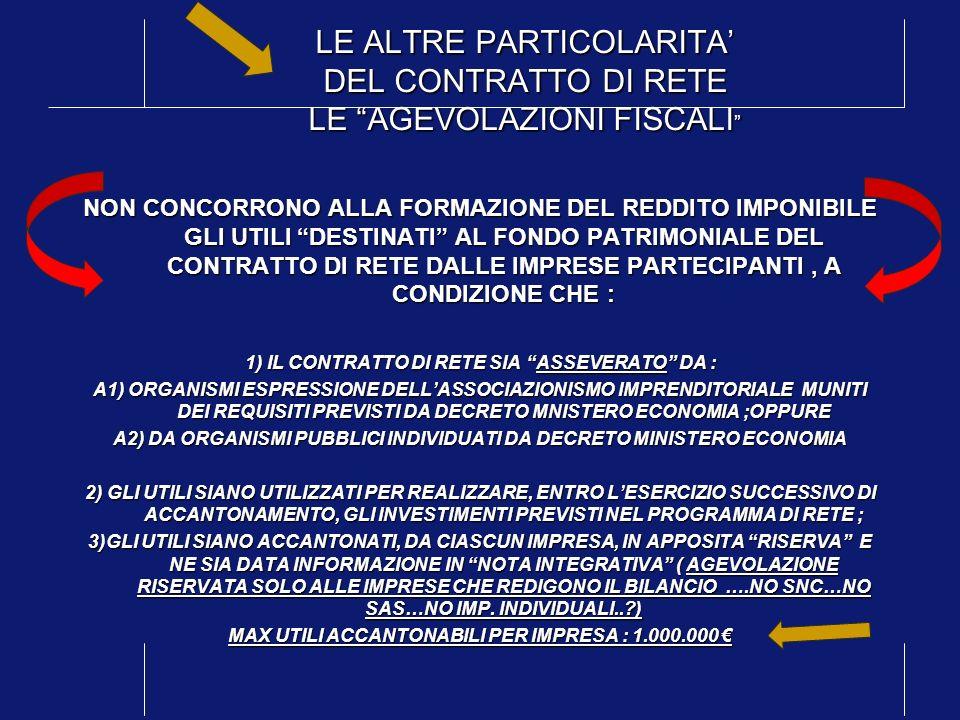 LE ALTRE PARTICOLARITA' DEL CONTRATTO DI RETE LE AGEVOLAZIONI FISCALI