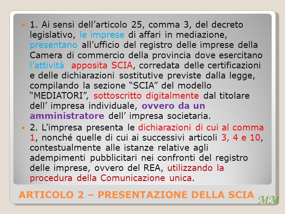 ARTICOLO 2 – PRESENTAZIONE DELLA SCIA