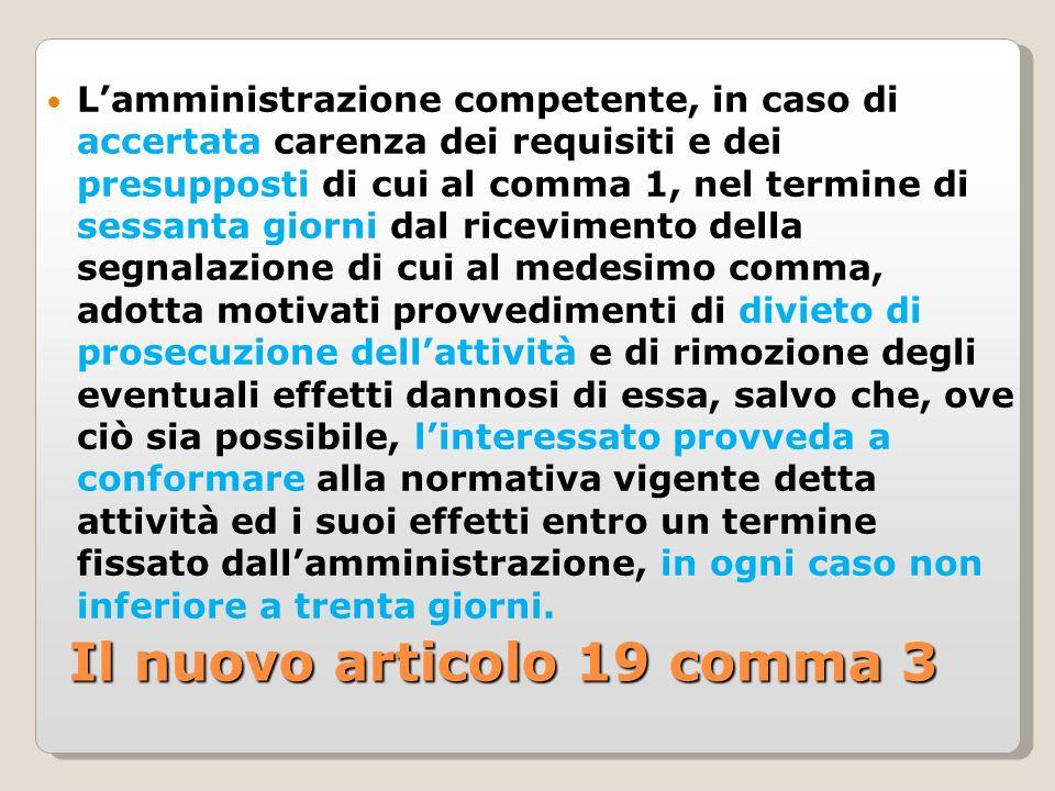 Il nuovo articolo 19 comma 3