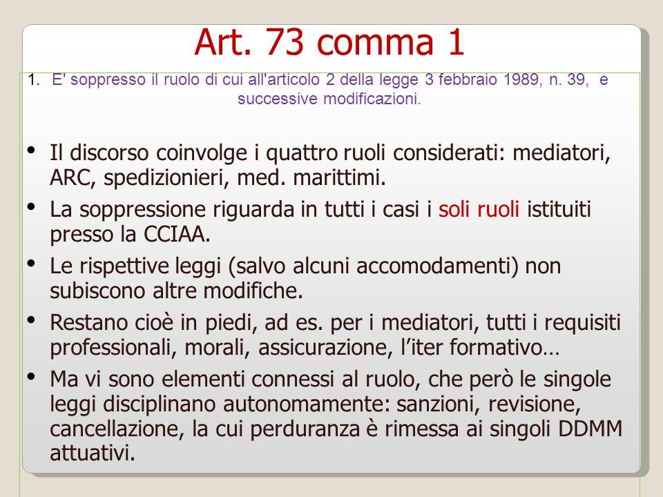 Art. 73 comma 1 E soppresso il ruolo di cui all articolo 2 della legge 3 febbraio 1989, n. 39, e successive modificazioni.