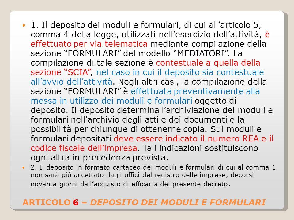 ARTICOLO 6 – DEPOSITO DEI MODULI E FORMULARI