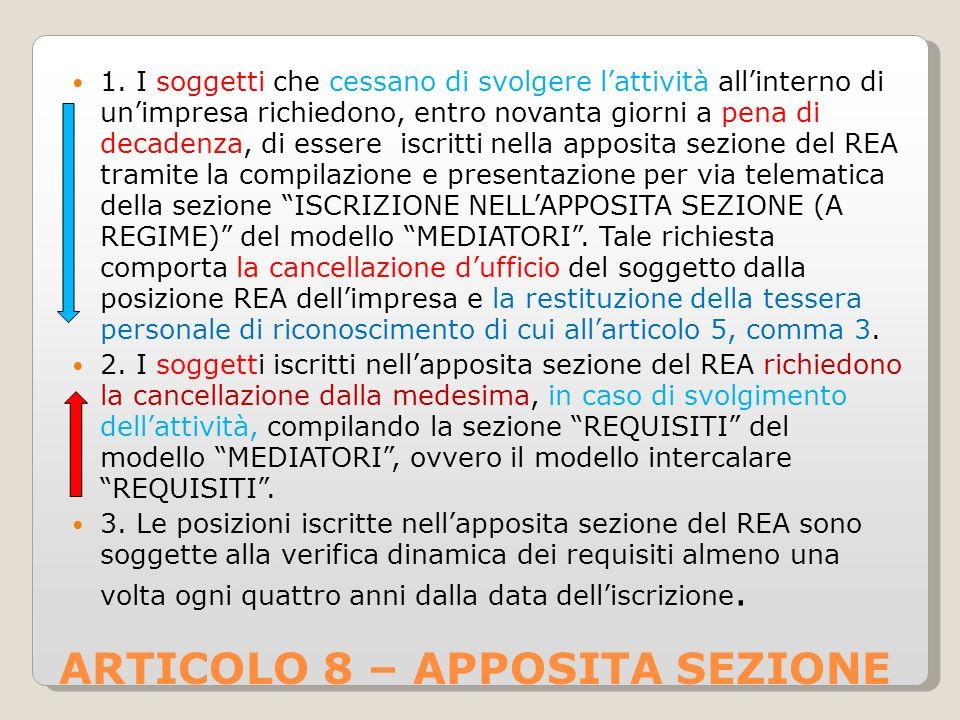 ARTICOLO 8 – APPOSITA SEZIONE