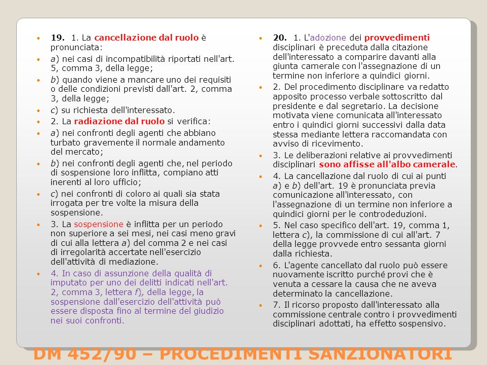 DM 452/90 – PROCEDIMENTI SANZIONATORI