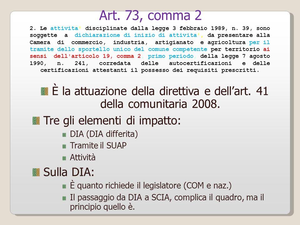 Art. 73, comma 2 2. Le attivita disciplinate dalla legge 3 febbraio 1989, n. 39, sono.