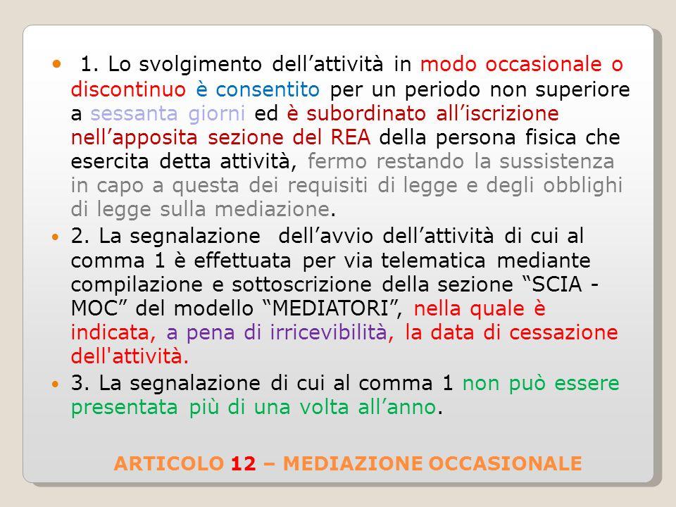 ARTICOLO 12 – MEDIAZIONE OCCASIONALE