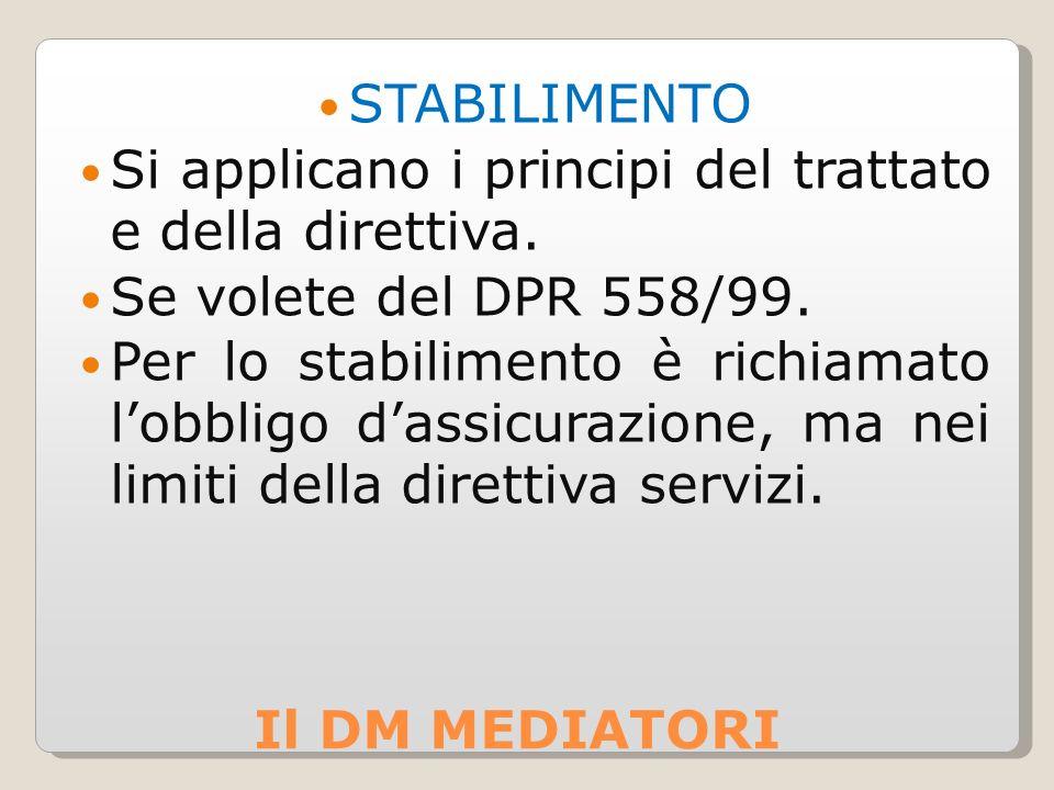 STABILIMENTO Si applicano i principi del trattato e della direttiva. Se volete del DPR 558/99.