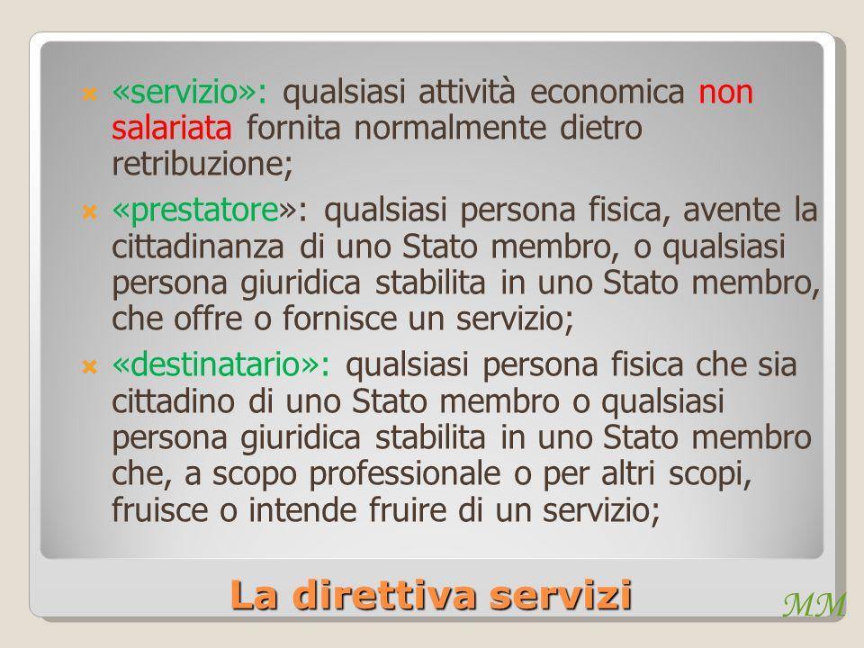 «servizio»: qualsiasi attività economica non salariata fornita normalmente dietro retribuzione;