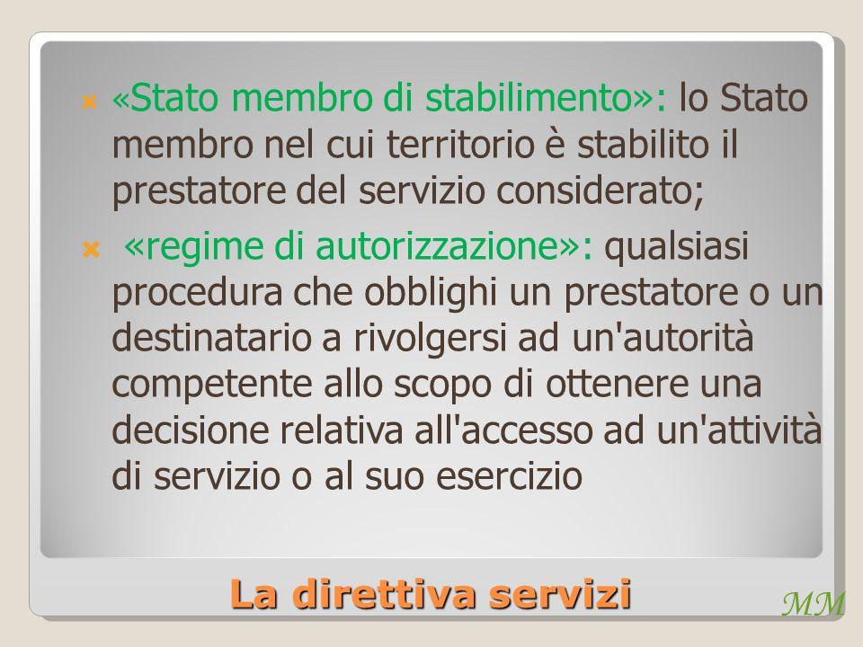 «Stato membro di stabilimento»: lo Stato membro nel cui territorio è stabilito il prestatore del servizio considerato;