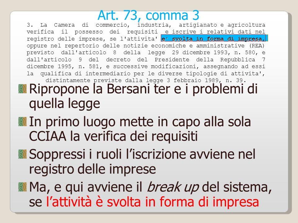 Ripropone la Bersani ter e i problemi di quella legge
