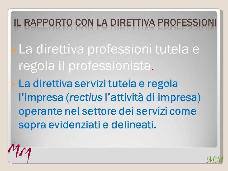 MM La direttiva professioni tutela e regola il professionista.