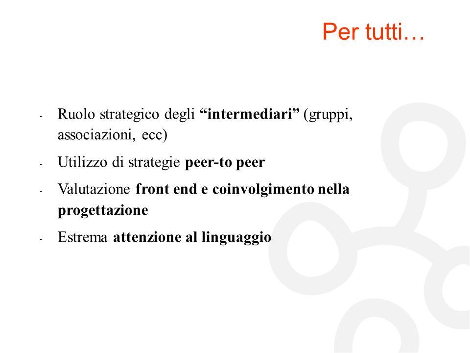 Per tutti… Ruolo strategico degli intermediari (gruppi, associazioni, ecc) Utilizzo di strategie peer-to peer.