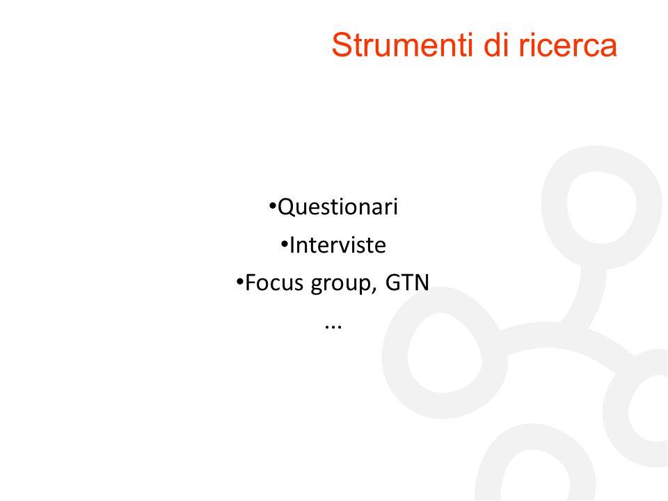 Strumenti di ricerca Questionari Interviste Focus group, GTN ... 33